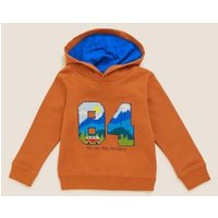 M&S Boys Cotton 84 Boucle Hoodie (2-7 Yrs) - 3-4 Y - Ginger, Ginger