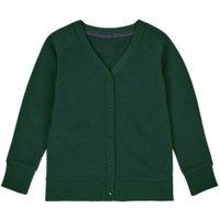 MandS Girls Cotton Sweat School Cardigan with StayNEW™ (2-16 Yrs) - 44-46REG - Bottle Green, Bottle Green,Burgundy,Royal Blue,Red,Grey Marl,Jade,Emerald