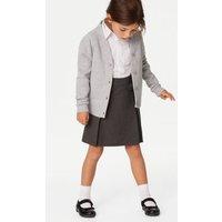 M&S Girls Girls' Cotton Regular Fit School Cardigan (2-16 Yrs) - 6-7 YREG - Grey Marl, Grey Marl
