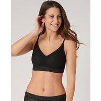 M&S Sloggi Womens Go Allround Lace Non Wired Crop Top - 1SIZE - Black, Black,Apricot