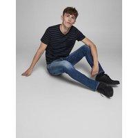 M&S Jack & Jones Mens Slim Fit Super Stretch Jeans - 3032 - Blue Denim, Blue Denim