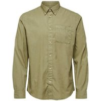 M&S Selected Homme Mens Organic Cotton Oxford Shirt - M - Khaki, Khaki,White,Navy