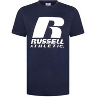 M&S Russell Athletic Boys Pure Cotton Slogan T-Shirt - 8-9 Y - Navy, Navy