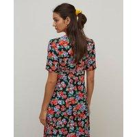 M&S Nobody'S Child Womens Floral V-Neck Midaxi Tea Dress - 6 - Black, Black