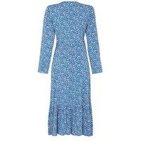 M&S Finery London Womens Floral V-Neck Midi Wrap Dress - 8 - Blue Mix, Blue Mix