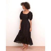 MandS NobodyS Child Womens Pure Cotton Midaxi Waisted Dress - 6 - Black, Black