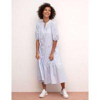 M&S Nobody'S Child Womens Cotton Checked V-Neck Midaxi Shirt Dress - 8 - Blue Mix, Blue Mix