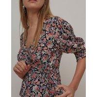 M&S Nobody'S Child Womens Floral V-Neck Wrap Blouses - 10 - Multi, Multi