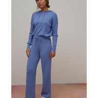 M&S Nobody'S Child Womens Ribbed Wide Leg Joggers - 8 - Blue, Blue
