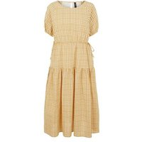 MandS Y.A.S Womens Round Neck Midi Tiered Dress - Yellow, Yellow