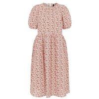 M&S Y.A.S Womens Floral Puff Sleeve Midi Smock Dress - Multi, Multi