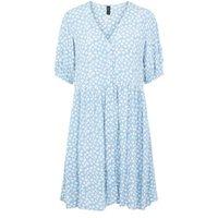 M&S Y.A.S Womens Floral V-Neck Knee Length Smock Dress - Blue, Blue