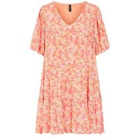 M&S Y.A.S Womens Floral V-Neck Puff Sleeve Smock Dress - Multi, Multi