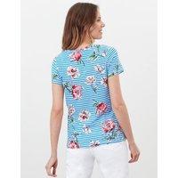 M&S Joules Womens Pure Cotton Floral Crew Neck T-Shirt - 8 - Blue Mix, Blue Mix,Navy Mix
