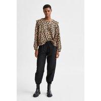 M&S Selected Femme Womens Cotton Animal Print Sweatshirt - Beige Mix, Beige Mix