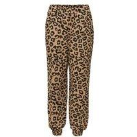 M&S Selected Femme Womens Cotton Animal Print Wide Leg Joggers - Beige Mix, Beige Mix