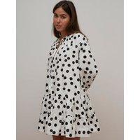 M&S Nobody'S Child Womens Organic Cotton Polka Dot Mini Smock Dress - 8 - White, White