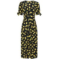 M&S Nobody'S Child Womens Lemon Print V-Neck Midaxi Tea Dress - 8 - Black Mix, Black Mix