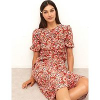 M&S Nobody'S Child Womens Floral Frill Detail Midaxi Tea Dress - 6 - Red Mix, Red Mix