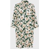 M&S Hobbs Womens Floral Collared Knee Length Shift Dress - 6 - Green Mix, Green Mix
