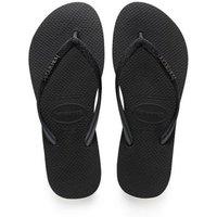 M&S Havaianas Womens Glitter Flip Flops - 37/38 - Black, Black