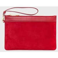 MandS Hobbs Womens Suede Clutch Bag - 1SIZE - Red, Red
