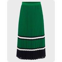 MandS Hobbs Womens Striped Pleated Midi Skirt - Green Mix, Green Mix