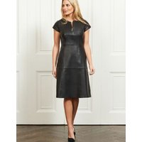 MandS Sosandar Womens Leather Waisted Crew Neck Knee Length Dress - 8 - Black, Black