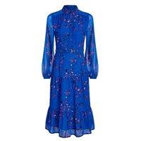 M&S Sosandar Womens Floral Belted Midi Shirt Dress - 8 - Multi, Multi