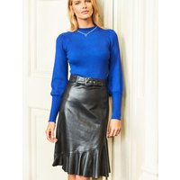 MandS Sosandar Womens Leather Ruffle A-Line Skirt - 12 - Black, Black
