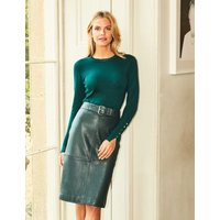 MandS Sosandar Womens Leather Belted Knee Length Skirt - 12 - Green, Green