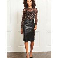 MandS Sosandar Womens Leather Belted Knee Length Skirt - 8 - Black, Black,Taupe,Green