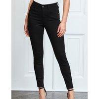 M&S Sosandar Womens High Waisted Skinny Ankle Grazer Jeans - 6LNG - Black, Black