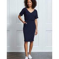 M&S Sosandar Womens Jersey V-Neck Waisted T-Shirt Dress - 14 - Navy, Navy