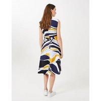 MandS Hobbs Womens Twitchill Linen Printed Skater Dress - 8 - Multi, Multi