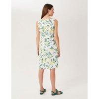 MandS Hobbs Womens Pure Linen Printed Shift Dress - 16 - White Mix, White Mix
