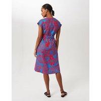 MandS Hobbs Womens Pure Linen Floral V-Neck Belted Shift Dress - 8 - Blue/Red, Blue/Red