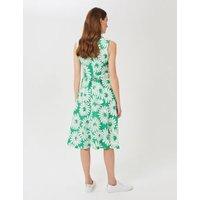 MandS Hobbs Womens Pure Linen Floral Waisted Midi Skater Dress - 16 - Green Mix, Green Mix