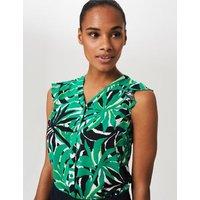 MandS Hobbs Womens Floral print Collarless Regular Blouse - 8 - Green Mix, Green Mix