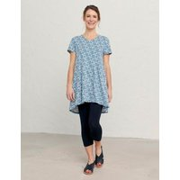 M&S Seasalt Cornwall Womens Organic Cotton Printed Tunic - 8 - Blue Mix, Blue Mix,Teal