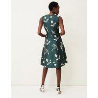 M&S Phase Eight Womens Floral V-Neck Knee Length Skater Dress - 8 - Green, Green
