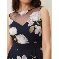 MandS Phase Eight Womens Embroidered Floral Skater Dress - 10 - Blue, Blue