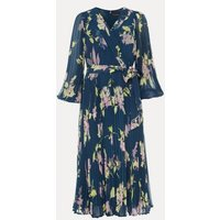 M&S Phase Eight Womens Floral V-Neck Tie Front Skater Dress - 16 - Blue, Blue