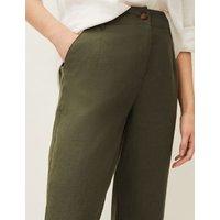 M&S Phase Eight Womens Pure Linen Tapered Trousers - 18 - Khaki, Khaki
