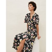 MandS Phase Eight Womens Floral V-Neck Tie Front Midaxi Wrap Dress - 16 - Green Mix, Green Mix
