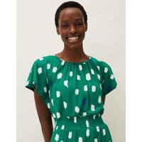 M&S Phase Eight Womens Spot Print Waisted Midi Shift Dress - 14 - Green Mix, Green Mix