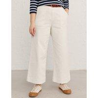 M&S Seasalt Cornwall Womens Cotton Wide Leg Cropped Trousers - 8 - White, White