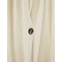 MandS White Stuff Womens Organic Cotton V-Neck Longline Cardigan - 8 - Natural Beige, Natural Beige,Red