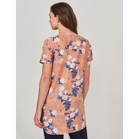 MandS White Stuff Womens Pure Linen Floral V-Neck Short Sleeve Tunic - 8 - Multi, Multi