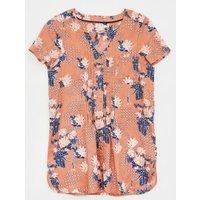 M&S White Stuff Womens Pure Linen Floral V-Neck Short Sleeve Tunic - 8 - Multi, Multi
